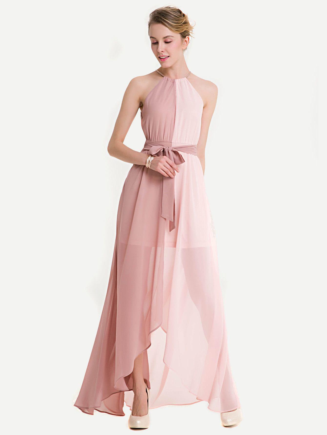 Two Tone Dip Hem Chiffon Dress With Weave Strap -SheIn(Sheinside ...
