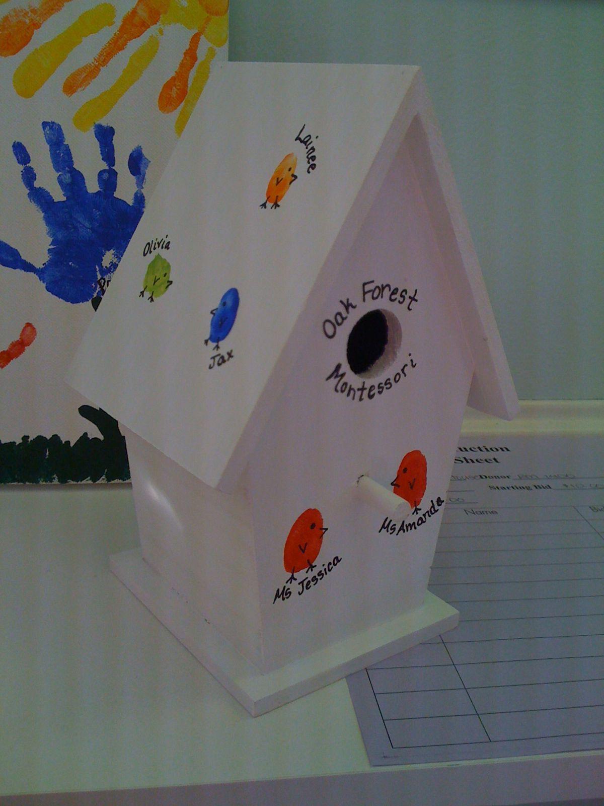 Bird house finger prints Bird houses Pinterest