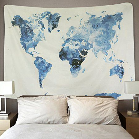 Amazon BLEUM CADE Blue Watercolor World Map Tapestry Abstract
