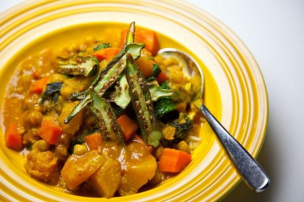 Ginger Squash Stew, Chickpeas and Challao Stew with Rice