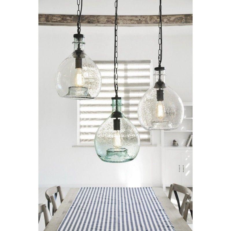 Lampe A Suspension Small H 14 5 Cm O 16 5 Cm Lanzo Transparent Noir En 2020 Globes De Lumiere Lampe Suspension Et Suspension Verre