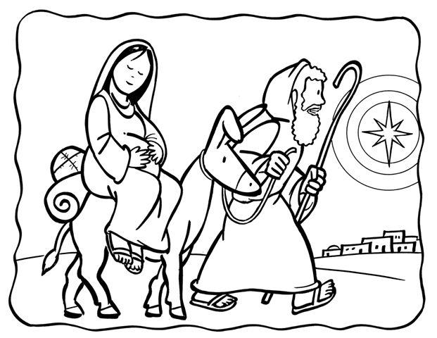 santa llega a casa cartoons | San José y la Virgen María para colorear