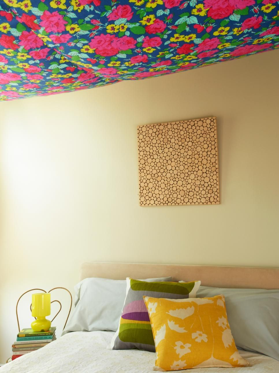 Hang Floral Fabric on Your Ceiling | Fun projects, Fabric ceiling ...