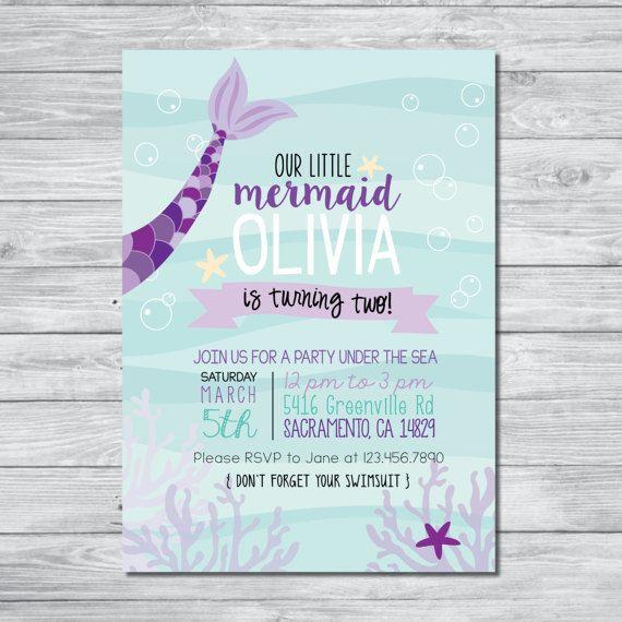 Mermaid Birthday Invitation Under The Sea Kids Party Digital Invite Personalized Invitations
