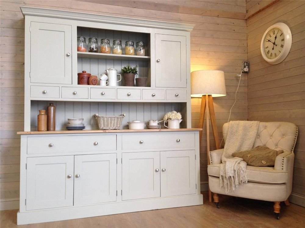 New Huge Solid Pine Welsh Dresser Kitchen Unit Shabby Chic Painted