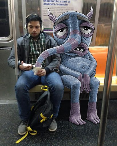 monsters of new york city sneak up on unsuspecting subway riders