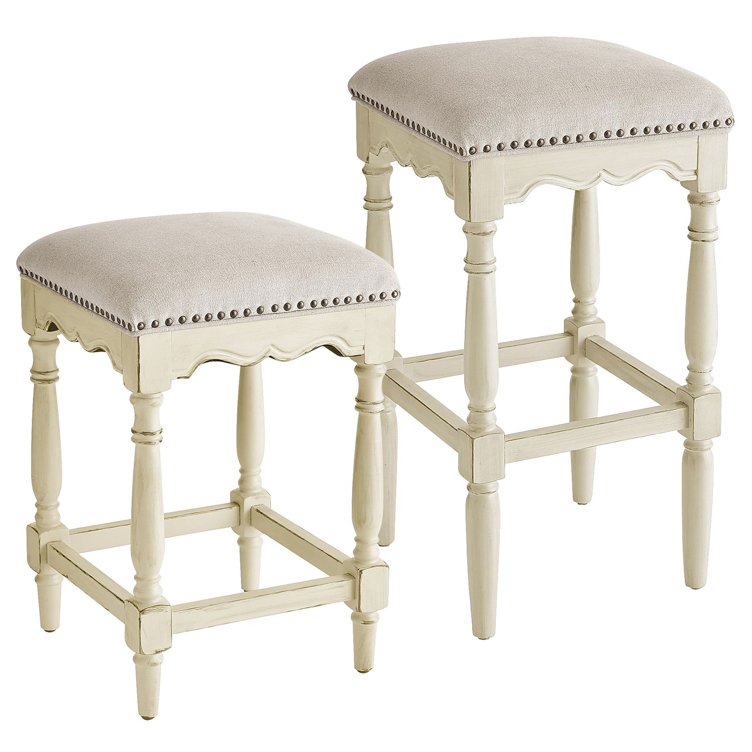 house of turquoise laura u interior design bar stools with classic turned legs carved apron plush linen seat and brass nailhead trim the french inspired ellie brings vintage style elegance to your counter or