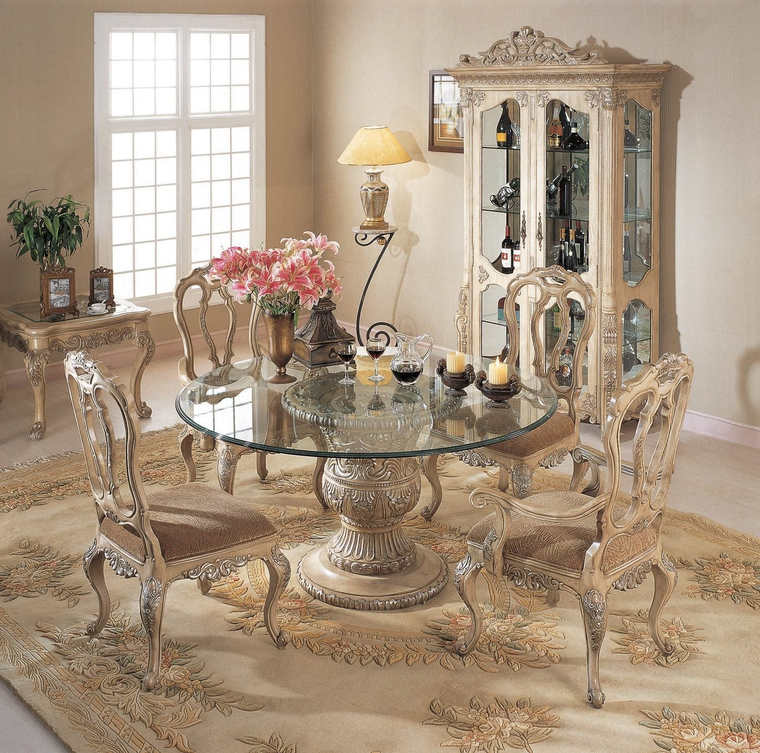 Antique Round Glass Dining Table Come With White Base In Carving To Classic Tufted Chair Cushion A Part Of Under Room
