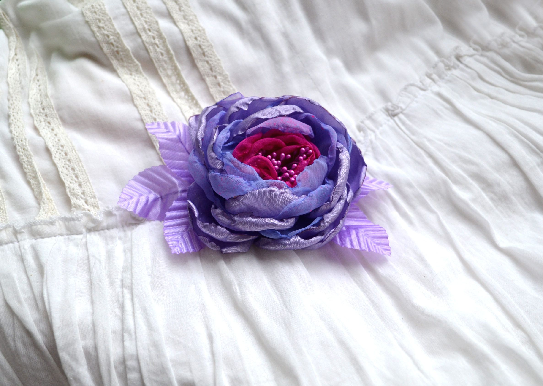 Flower Brooch Rose Brooch Romantic Brooch Lilac Brooch Lilac Rose