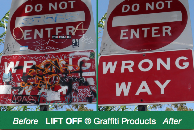 Lifting Off Graffiti Tags.  One sign at a time.