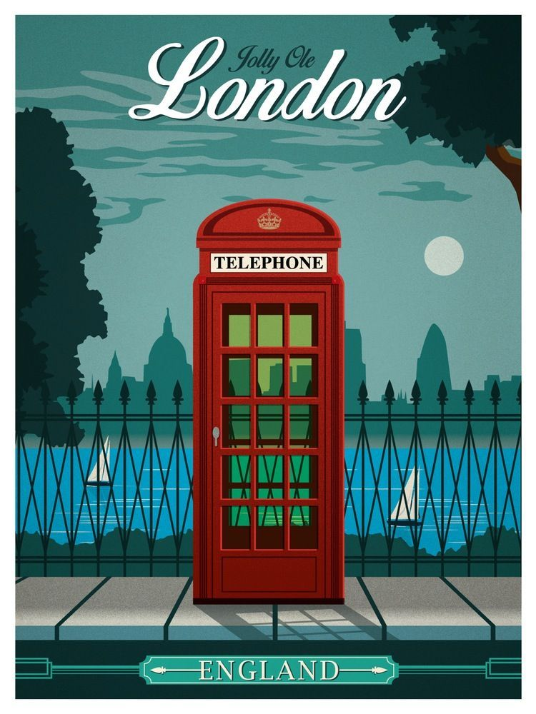 vintage travel posters | Image of Vintage London Travel Poster ...