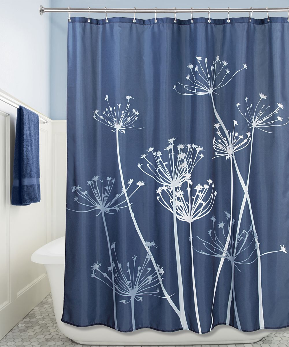 Navy Slate Blue Thistle Shower Curtain Fabric Shower Curtains