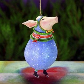 """Fred Pig Ornament - 08-31100 - 5"""""""