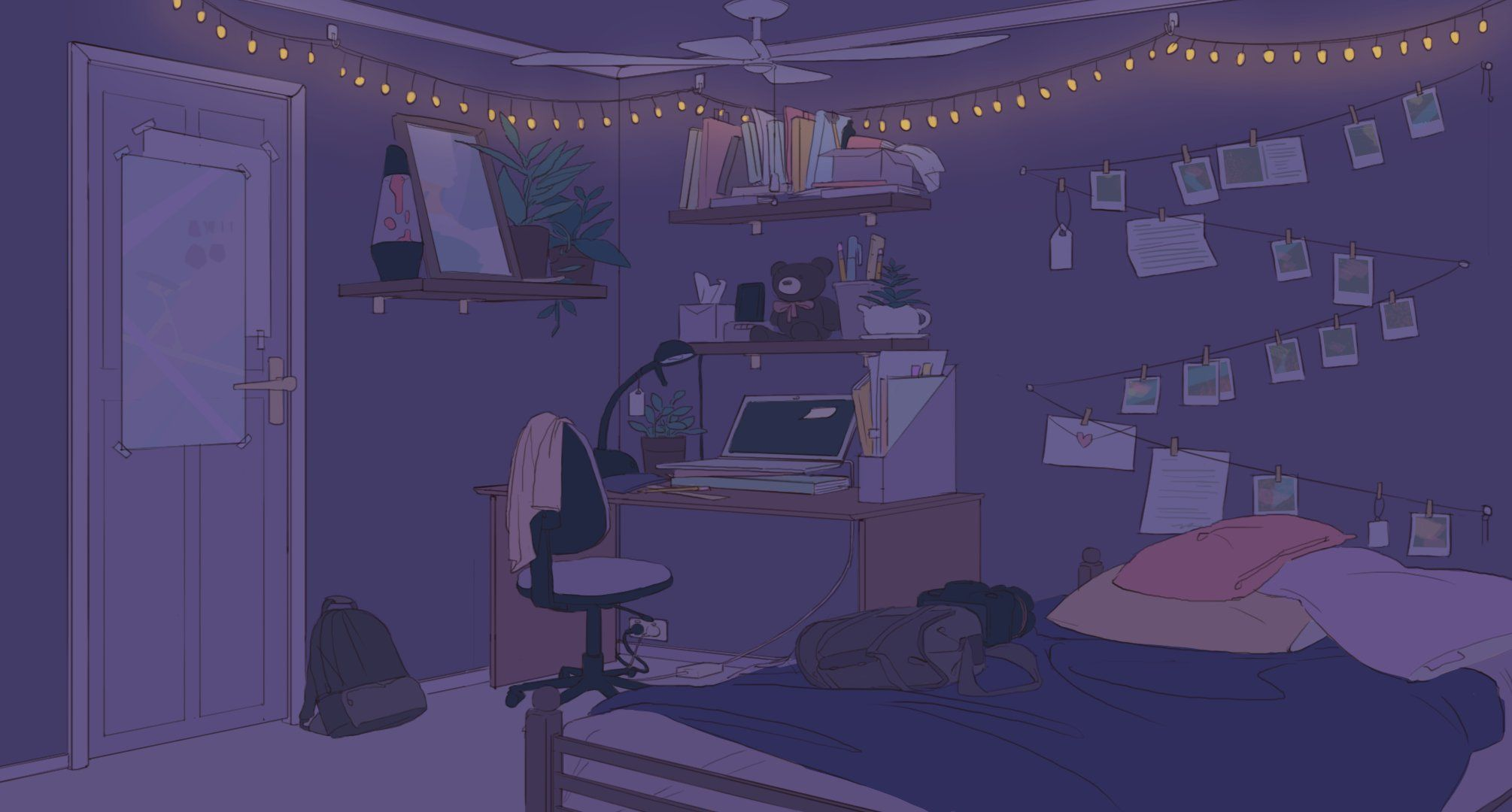 1 Twitter Background Drawing Bedroom Wallpaper Anime Bedroom Drawing