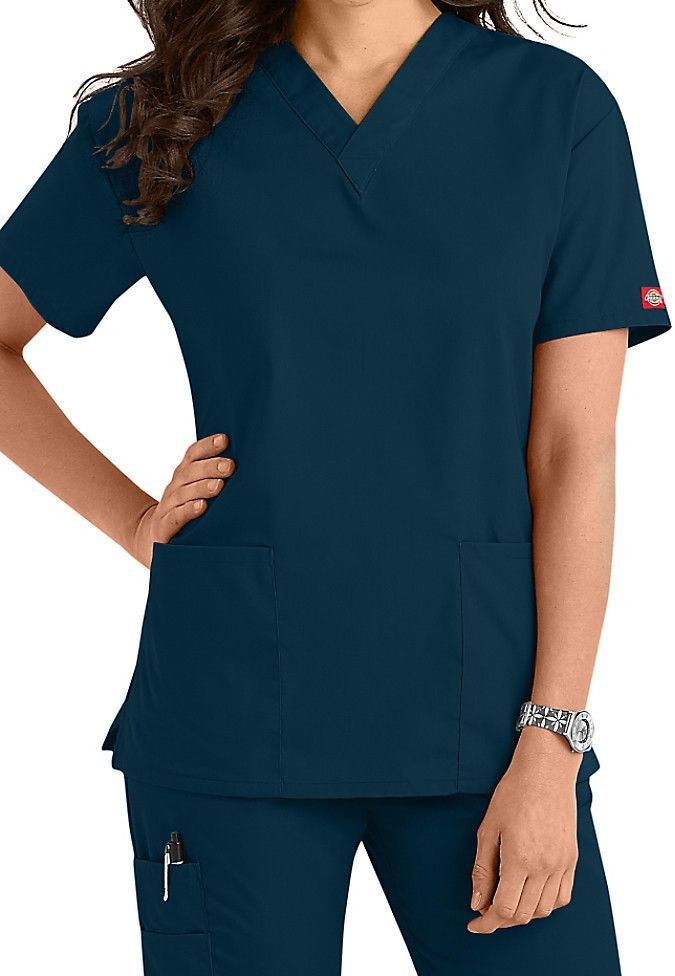 3cbd8ddf2c3 Dickies Medical Scrub EDS Signature Caribbean Blue Two Pocket Top Sz XS-XXL  NWT #Dickies