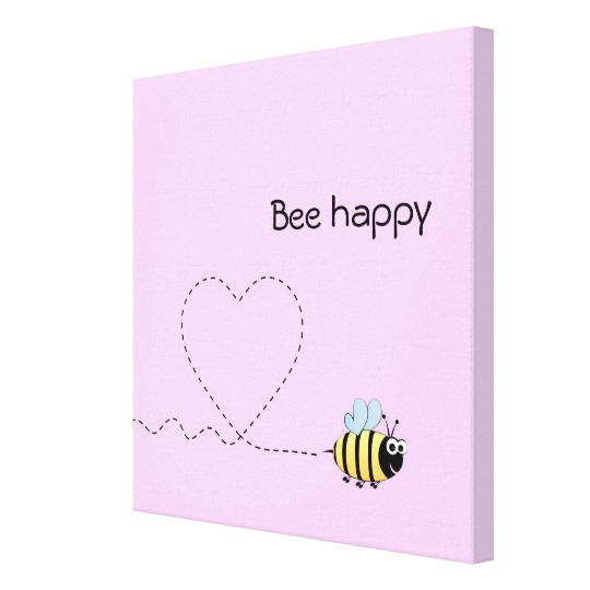 Happy Cute Bee Cartoon Pun Pink Canvas Print Zazzle Com Small Canvas Paintings Cute Canvas Paintings Canvas Art Quotes
