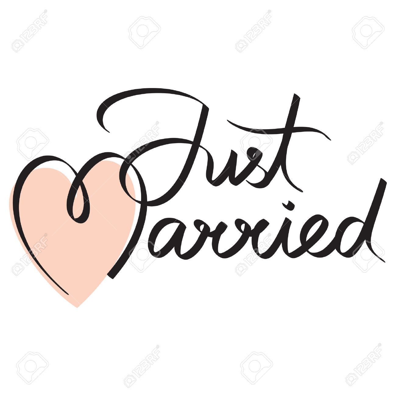 Just Married Hand Lettering Calligraphy Headline Hand Lettering Just Married Sign Just Married