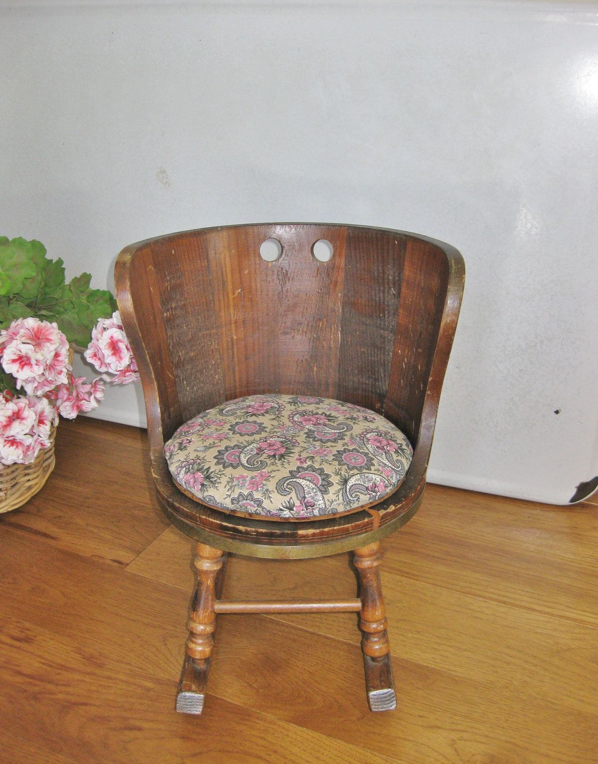 Antique barrel chairs - Early American Childs Rocking Chair Barrel Shaped Dark Pine Colonial Style 1960s Rocker Putney Vermont Basketville
