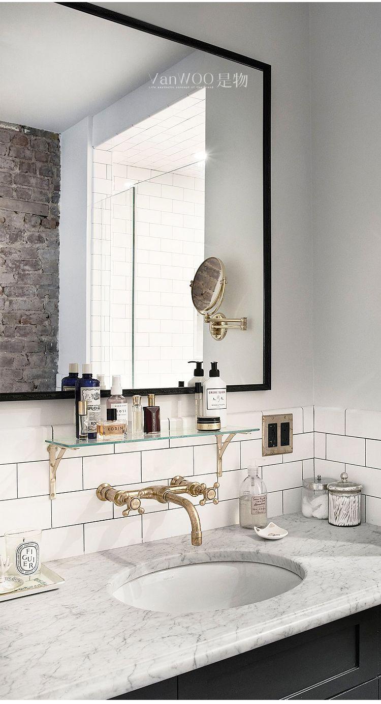 北欧个性定制浴室镜铁艺工业风卫浴镜洗手间镜梳妆镜壁挂镜化妆镜 淘宝