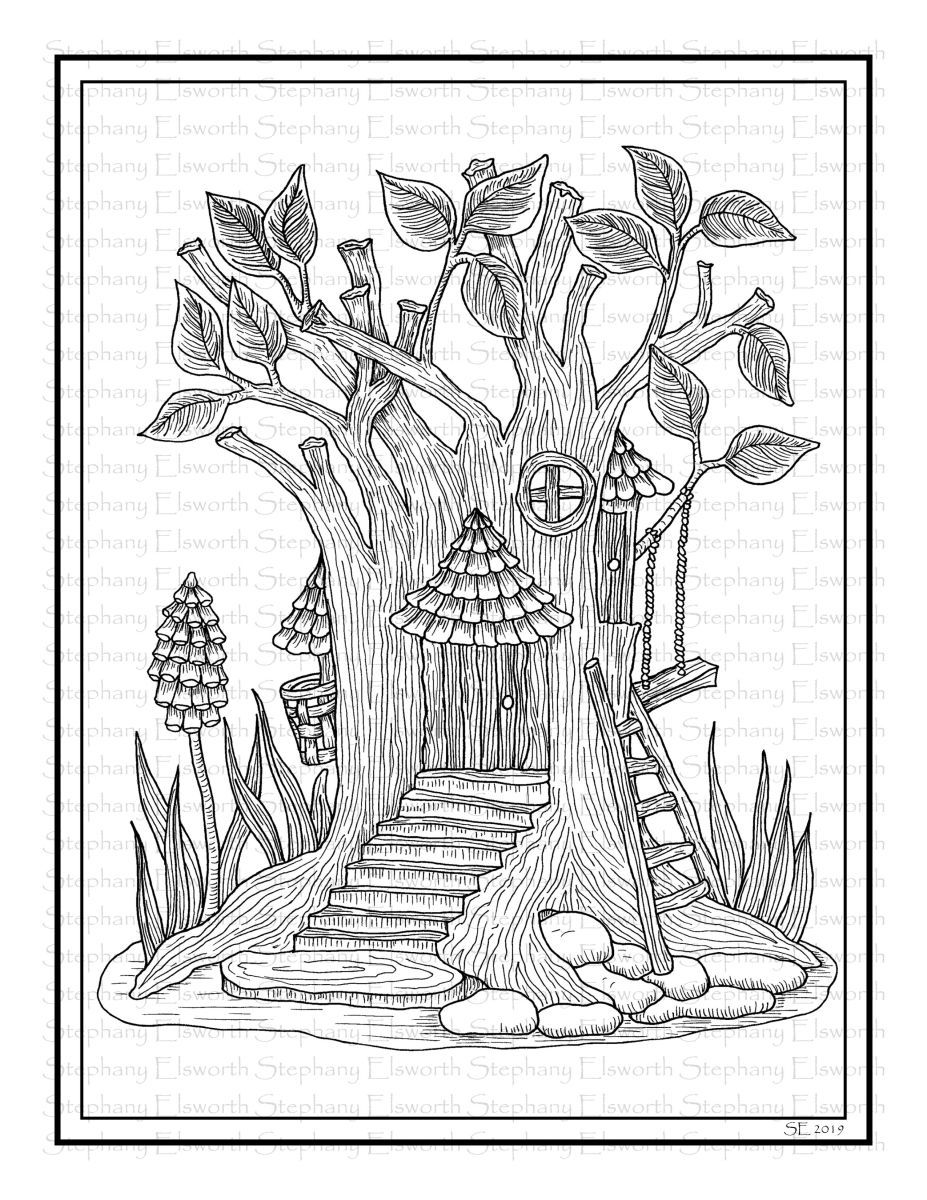 Tree Trunk Fairy House Printable Coloring Page Color With Steph Coloring Pages House Colouring Pages Coloring Books