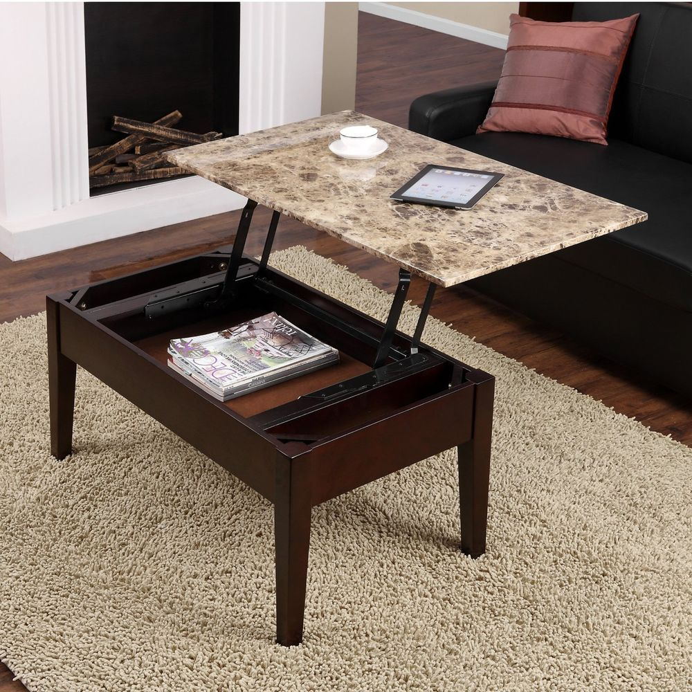 Faux Marble Lift Top Coffee Table Espresso Solid Wood Storage Meal Tray Laptop Coffee Table Living Room Coffee Table Coffee Table With Storage [ 1000 x 1000 Pixel ]