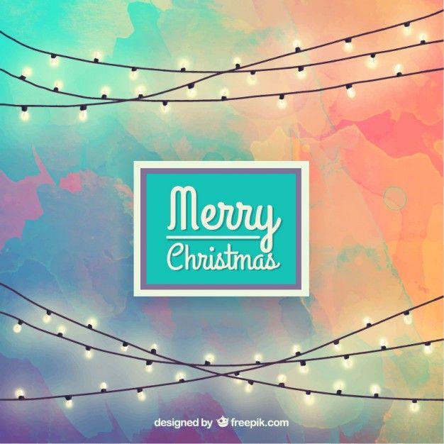 Luces de navidad en fondo pintado a mano Vector Gratis feliz año - Luces De Navidad