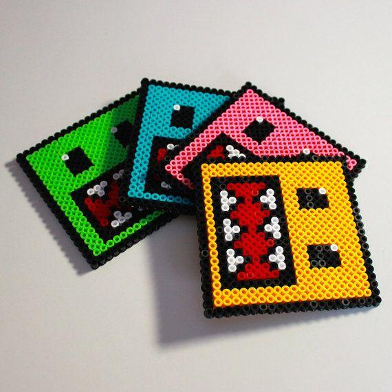 DomoKun Inspired Hama Bead Coaster Set  Domo Perler by EssHaych