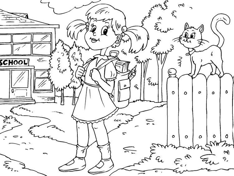 Dibujo para colorear: ir al colegio. | De vuelta al colegio. Back to ...