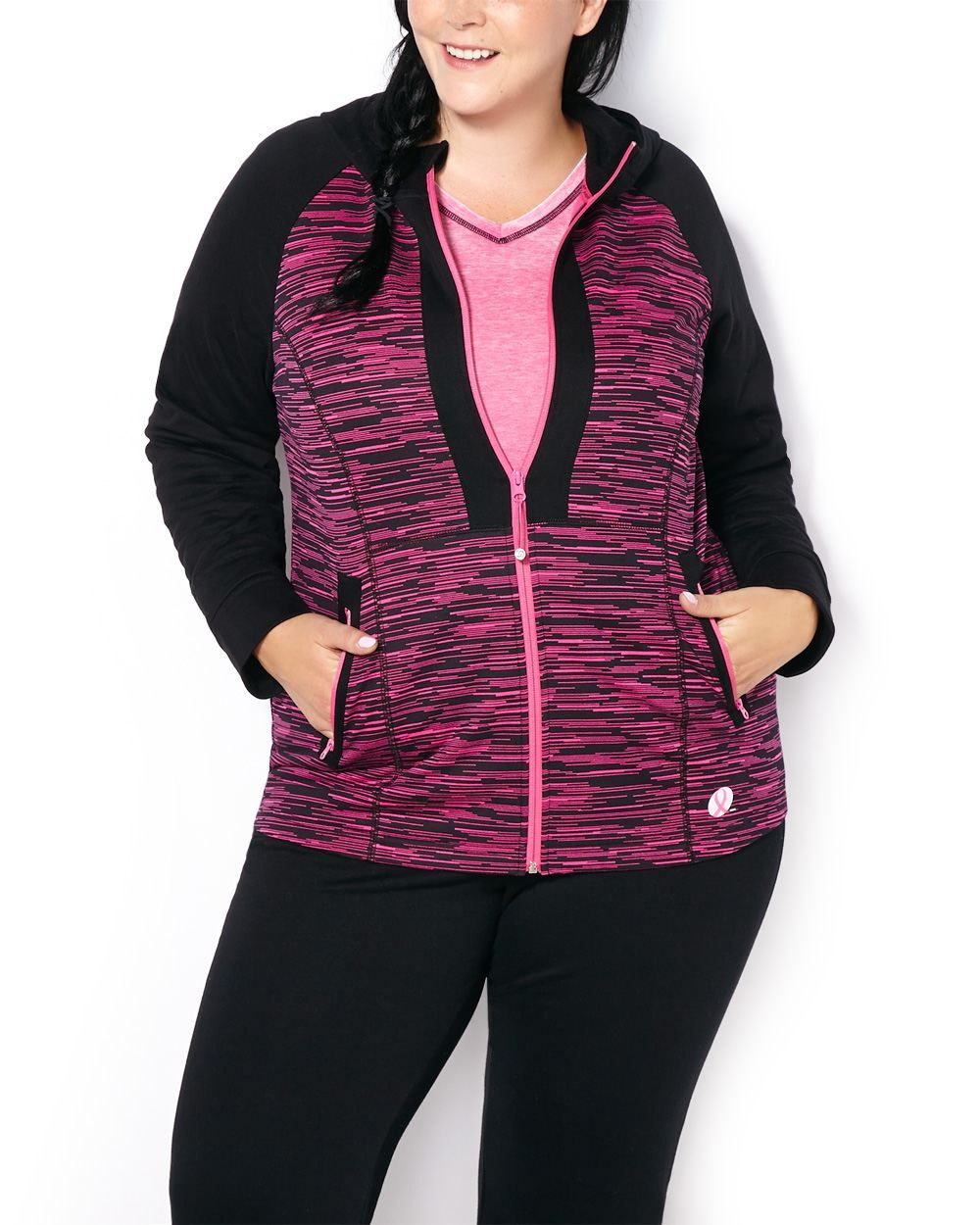 97295031fba8e ActiveZone Breast Cancer Awareness Plus-Size Hooded Jacket ...