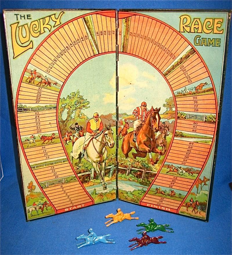 THE LUCKY (HORSE) RACE GAME C.1920s FOLDING TINPLATE BOARD