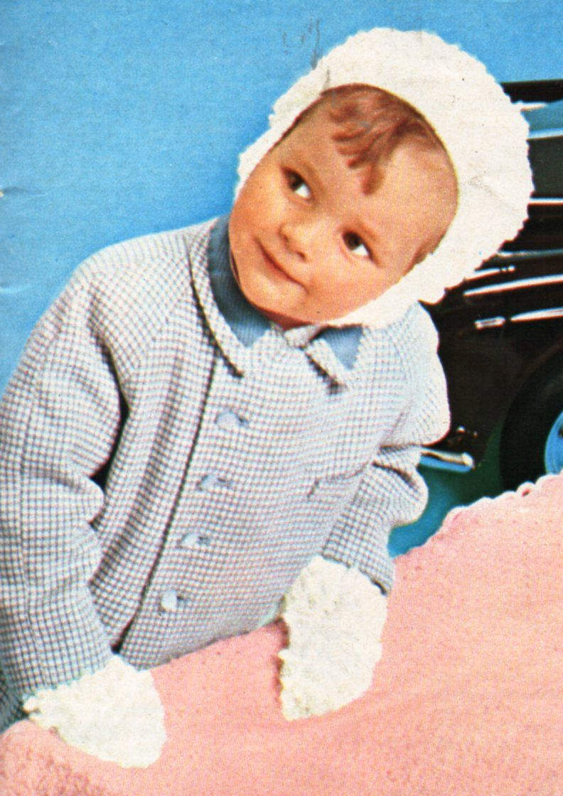 Vintage baby loopy hat mitts set knitting pattern pdf 4ply baby loop ...