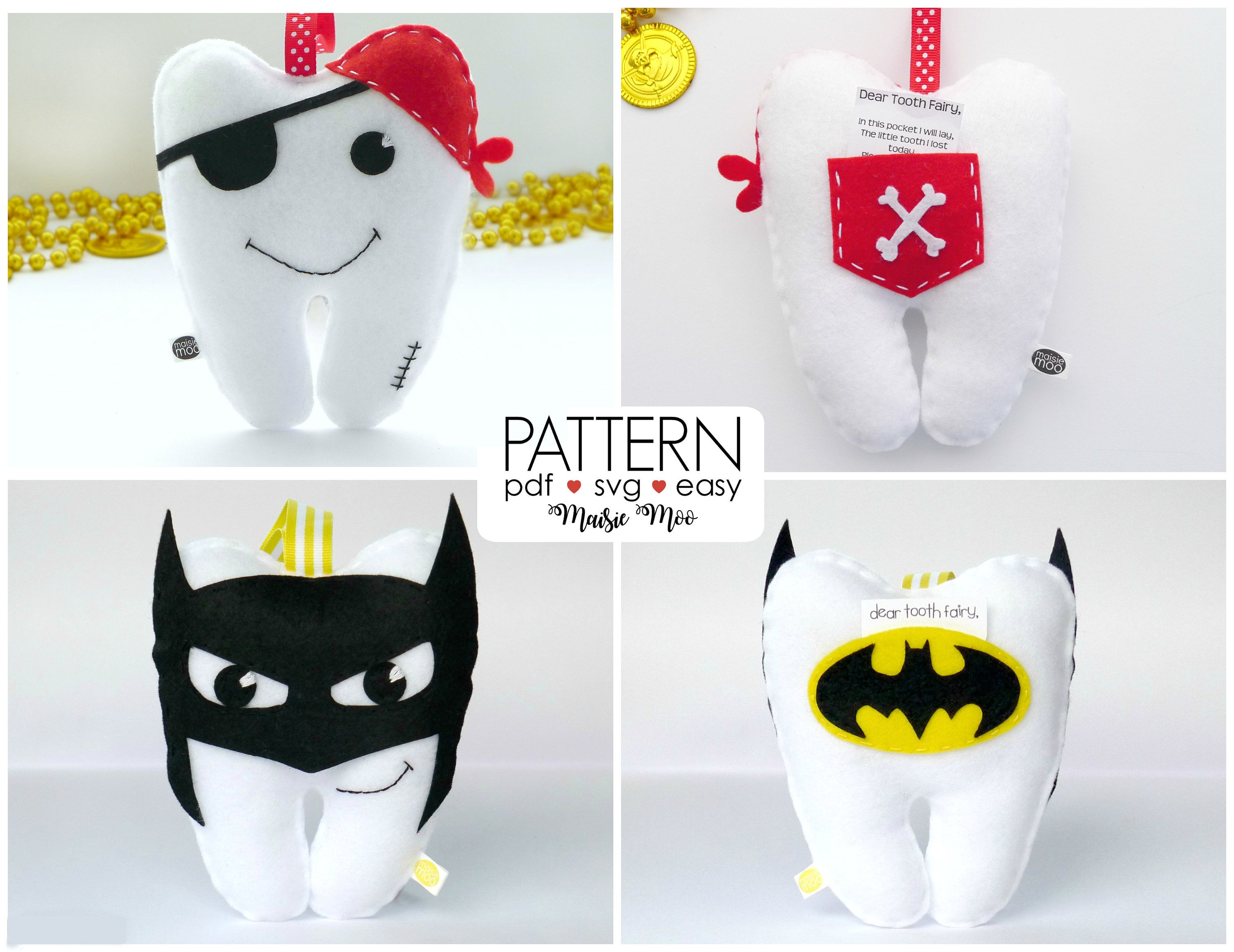 Sewing Craft PATTERN Princess Boys Girls TOOTH FAIRY CUSHIONS