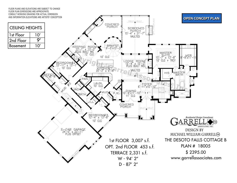 Desoto Falls Cottage B 18005 Garrell Associates Inc Fall Cottage Desoto Falls Basement Floor Plans