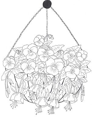 hanging basket of pansies and fuchsia