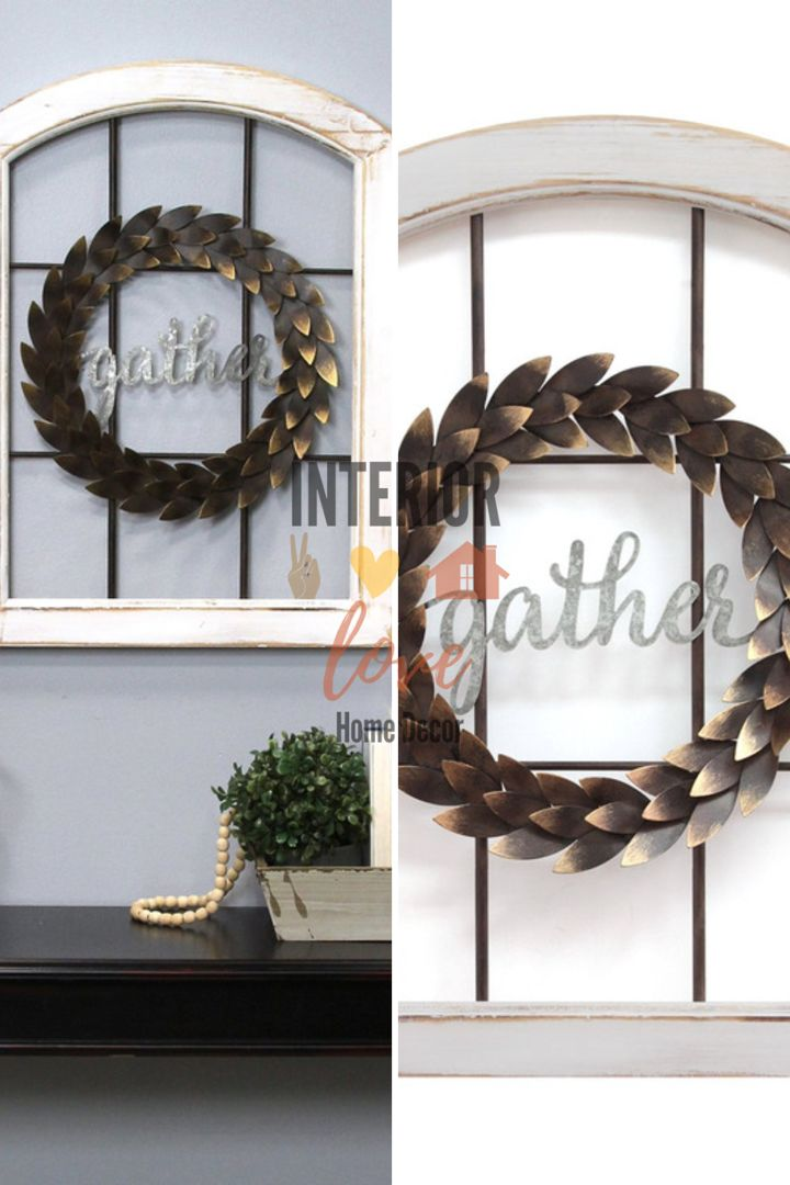 Charming Gather Farmhouse Window with distressed wood and antique gold wreath. This makes the perfecr holiday wall decor #gather #walldecoration #walldecorideas #distressed #falldecor #falldecorideas #antiquegold #antiquedecor #farmhousedecor #farmhousestyle