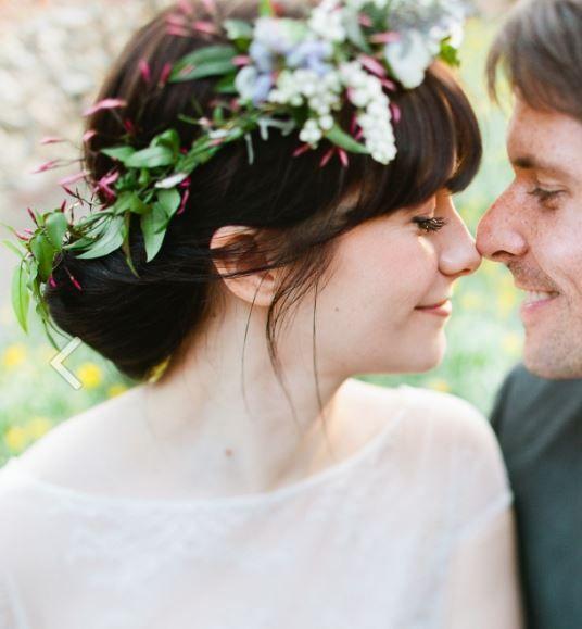 Wedding Hairstyles Fringe: Full Fringe, Updo, Flower Crown