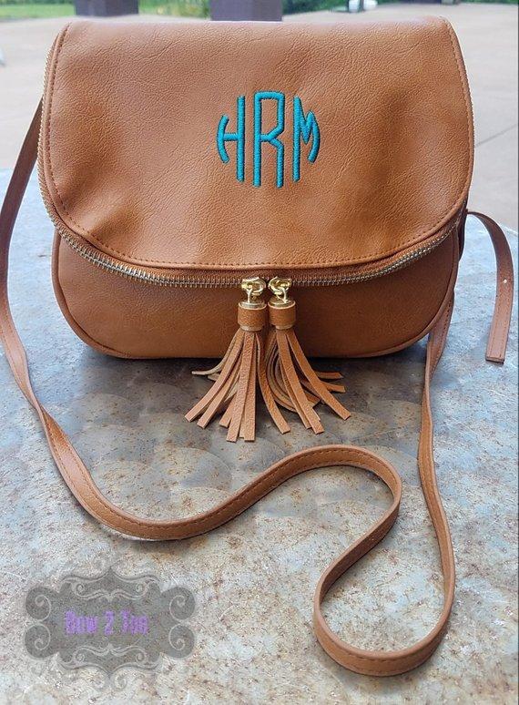 a37946801 Camel Monogrammed Crossbody Bag Monogram Tassel Handbag Personalized Purse  Vegan Leather Bag Embroid
