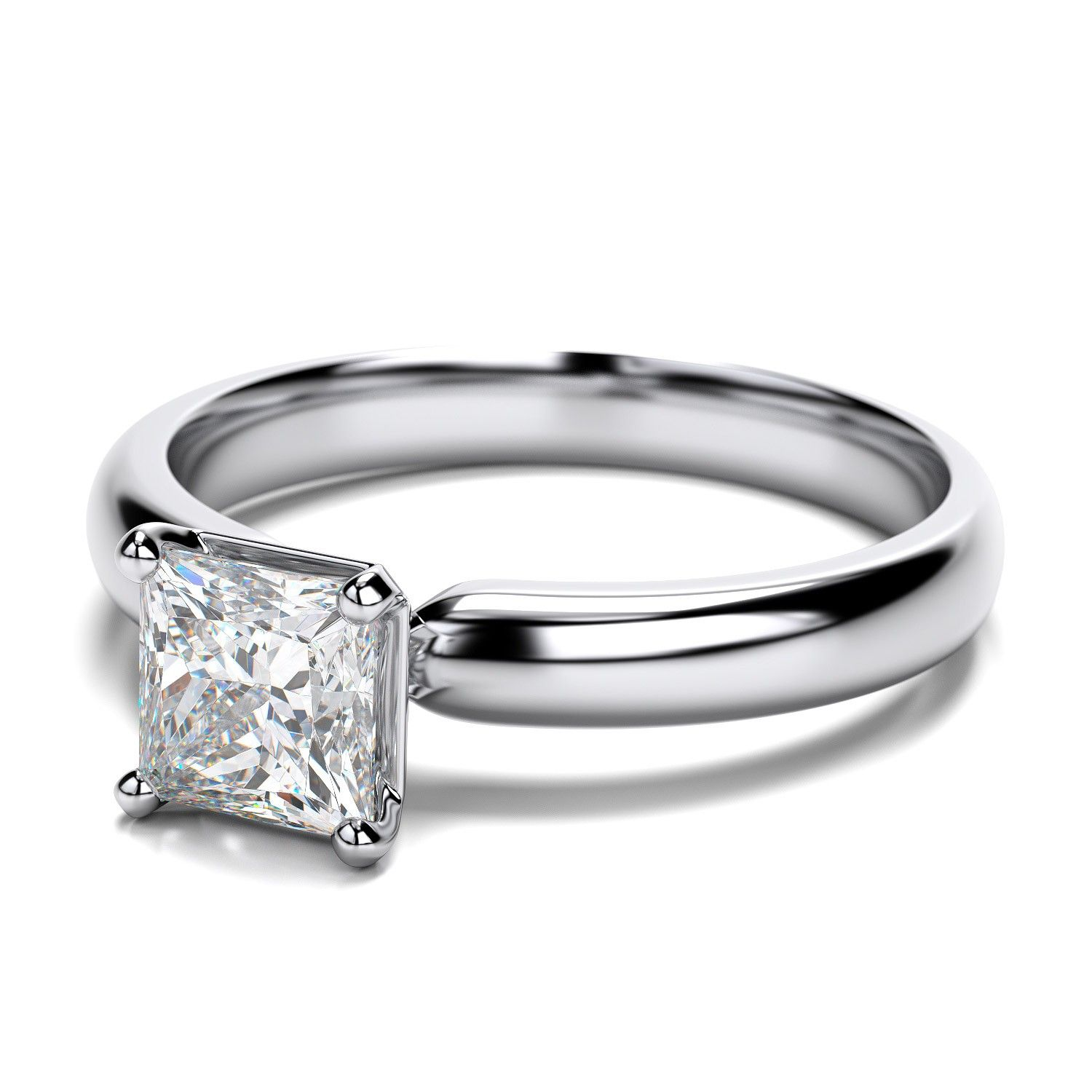 Traditional Princess Cut Diamond Engagement Ring in Platinum