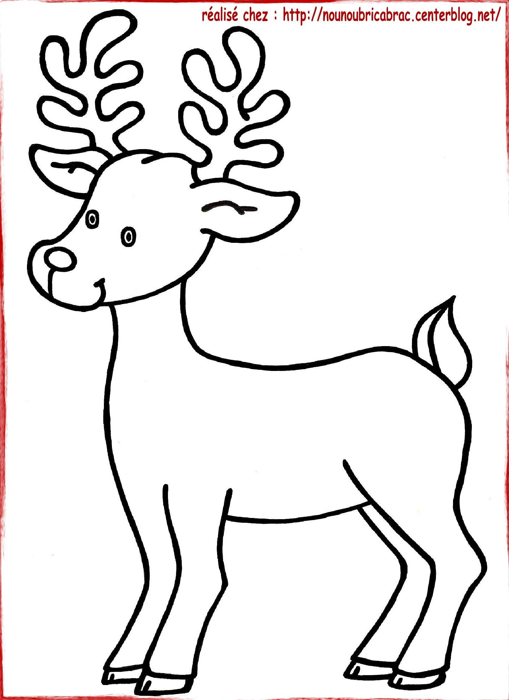 dessin renne de noel Bonjour, Noël approche à grand pasVoici le coloriage d'un Renne  dessin renne de noel