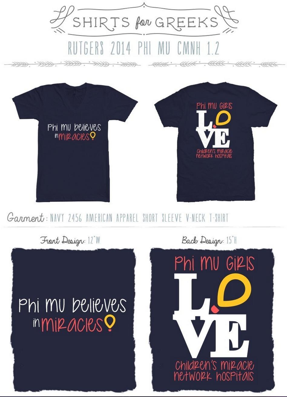 Phi Mu Children S Miracle Network Greek Life Philanthropy Cmnh Sorority Designs Love Shirtsforgreeks Com Phi Mu Fraternity Apparel Phi Mu Shirts