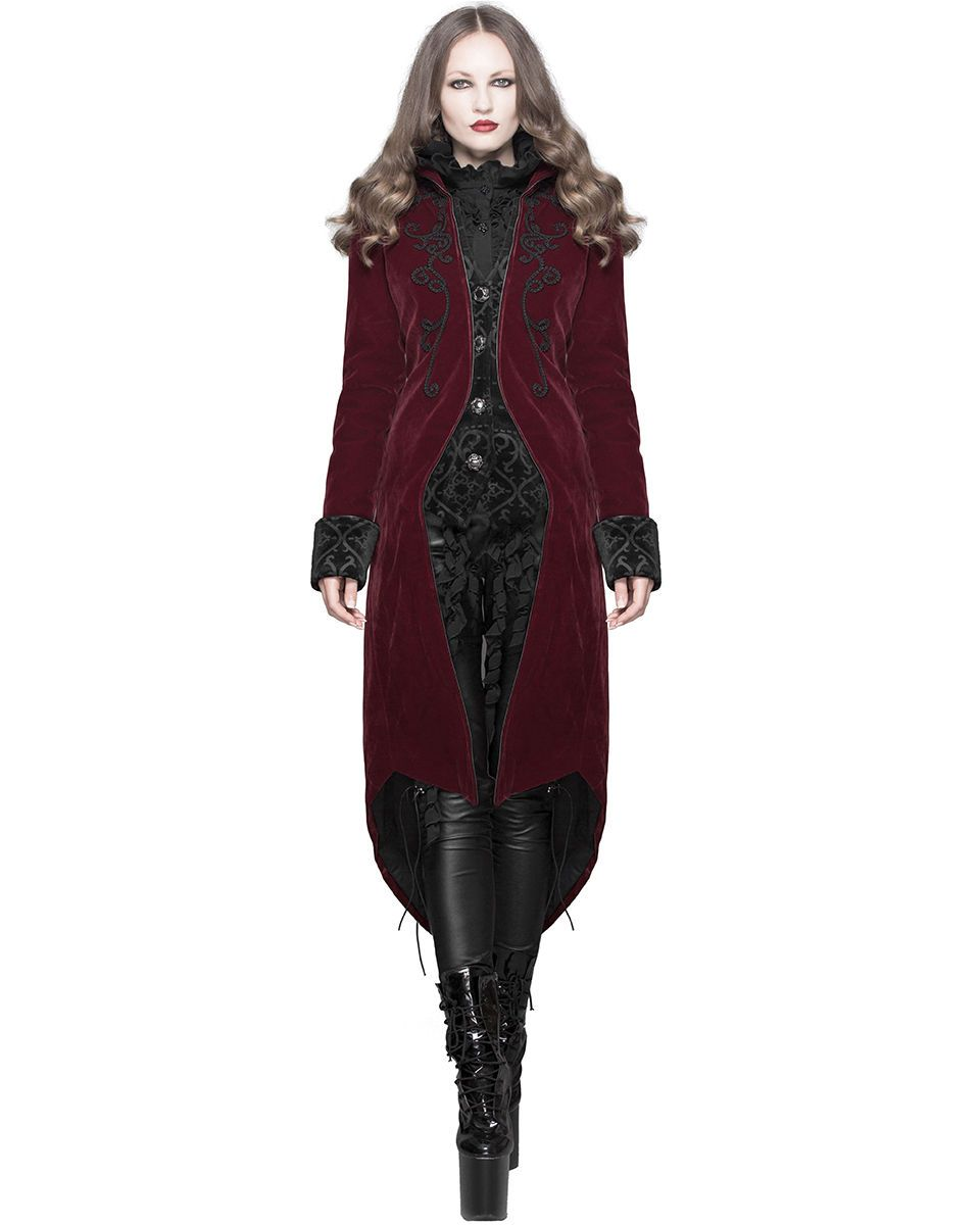 571421a2b2cd30 #Jacket #Gothic #Victorian #Steampunk #Detail Devil Fashion Womens Coat  Jacket Red Velvet Gothic Steampunk Aristocrat Regency eBay