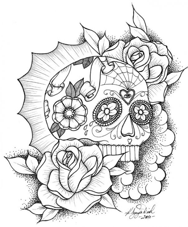 awesome sugar skull coloring picture online | abstract coloring ... - Coloring Pages Roses Skulls
