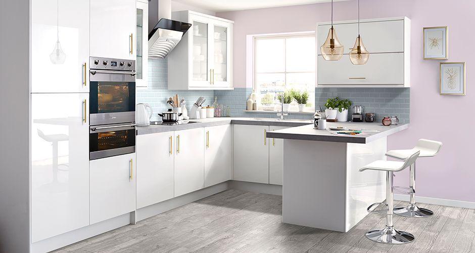 It Santini Gloss White Slab Diy At B Q Kitchendesignb Q White