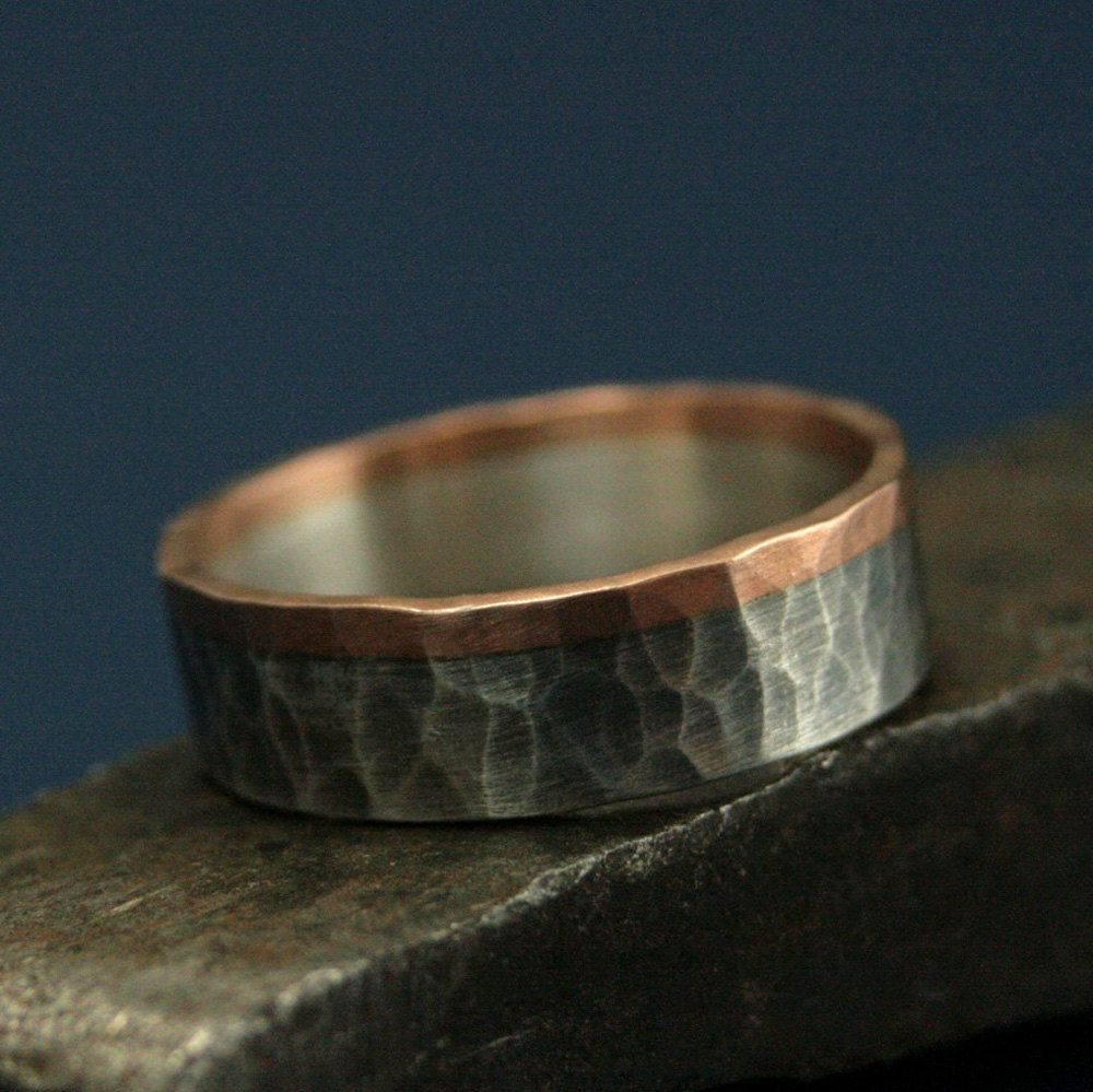 Rose Gold and Silver RingThe Dark Heart BandHammered