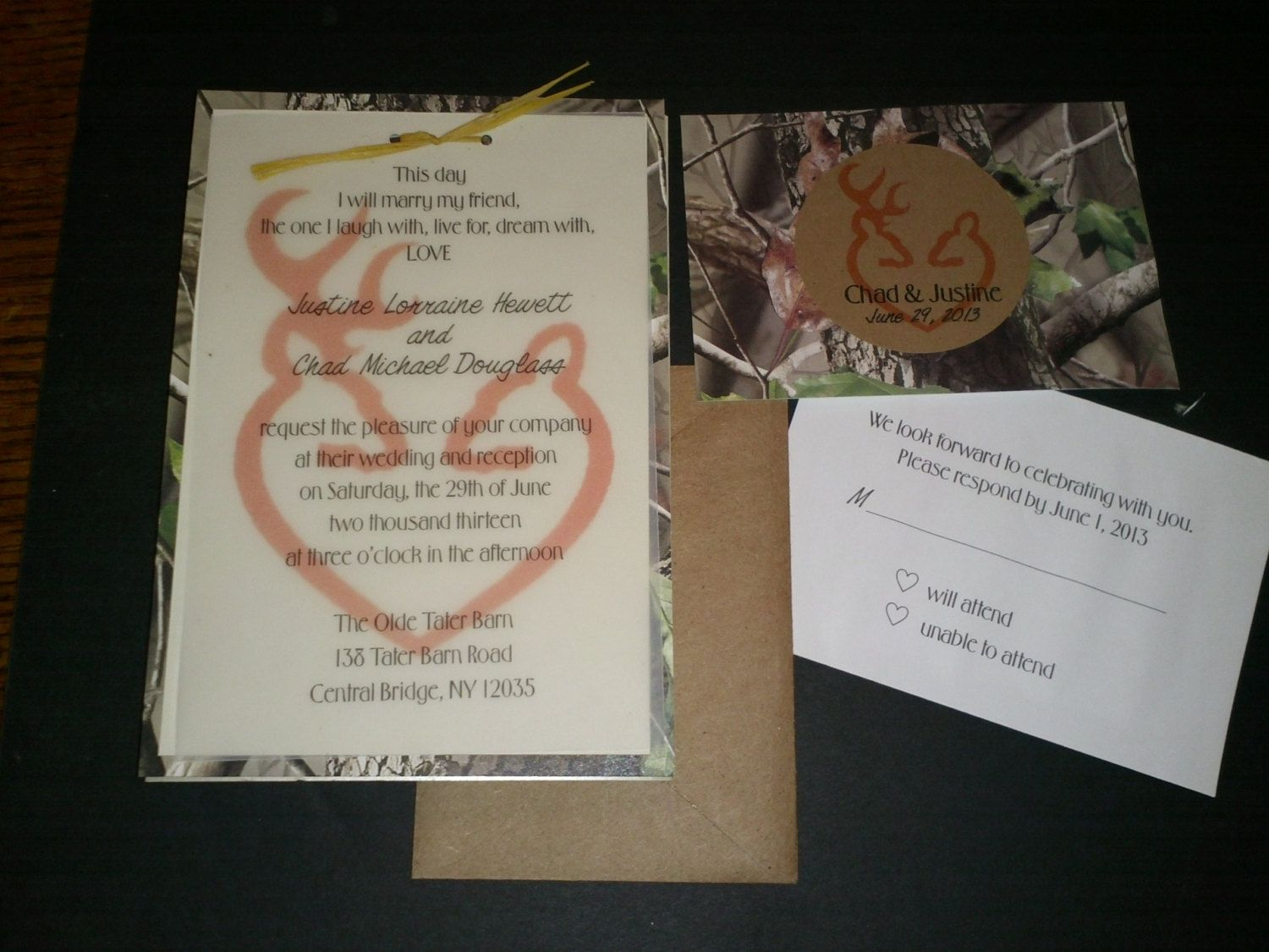 realtree wedding invitations%0A Hooked On Love Camo Wedding Invitation and RSVP Card by MrsPrint   camo  wedding ideas   Pinterest   Camo wedding  Rsvp and Camo