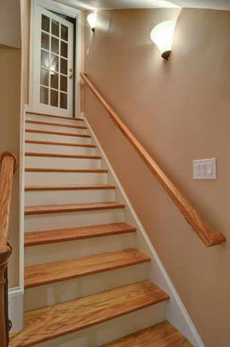 Finished Basement Stairs W O Carpet We Have To Do This Soon I M Tired Of Carpet Stair Remodel Basement Steps Finishing Basement