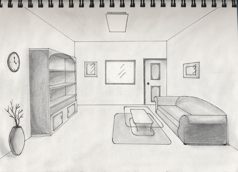 A One Point Perspective Interior Sketch For Class. One Point Perspective  Interior Part 9