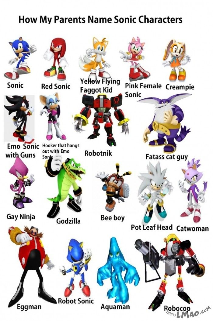 lmao how my parents name sonic characters funny crude crazy