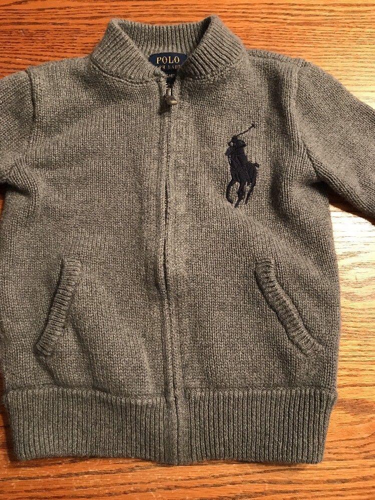 Polo. Ralph Lauren Toddler Boys Size 4T Heather Gray Zip Front Cardigan Sweater   eBay   Ralph lauren toddler boy. Zip front cardigan. Sweater ...