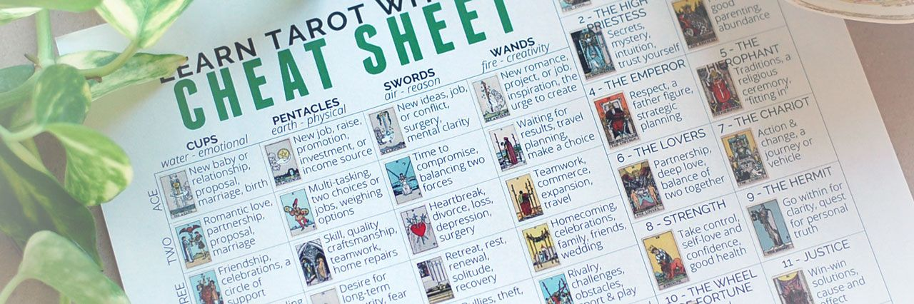 Free PDF Tarot Cheat Sheet - Learn Tarot With Me Tarot Pinterest
